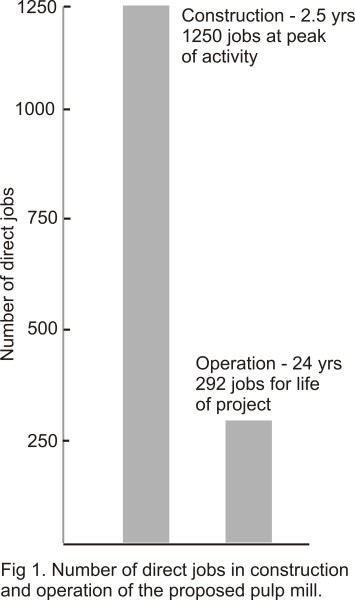 Fig 1. Number of pulp mill jobs in short term construction and long term operations