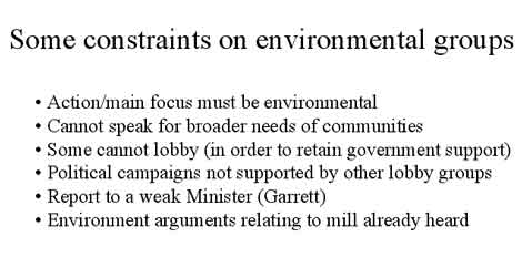 Some constraints on environmental groups