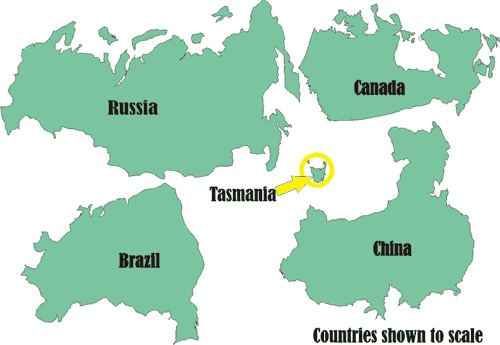 Scale of Tasmania relative to other countries